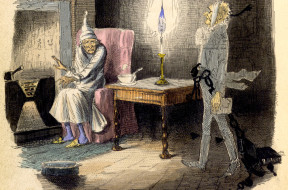 A Christmas Carol in prose. – caption: 'Marley's Ghost.  Ebenezer Scrooge visited by a ghost.'